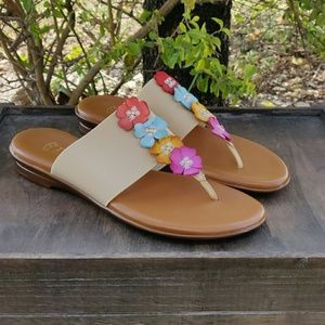 Italian Floral Spring Thong Slip On Sandals